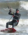 wintertime kiteboardier