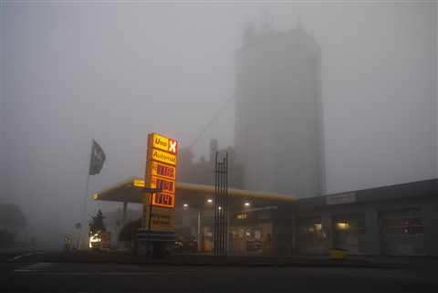 Foggy gas station