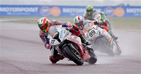 Buildbase BMW No77 Barry Burrell British Superbikes practice in the rain Thruxton, England