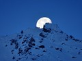 Moon rising over Aiguille de la Floria near Chamonix, France