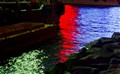 lights water reflection.Red,blue,yellow-green