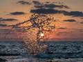 Sunset through splash