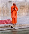 Worshiper at holy river Ganges, Northern India