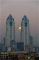 Moon between twin towers of Mumbai India