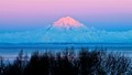 mt redoubt with alpenglow beside cook inlet