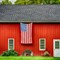 barn and flag