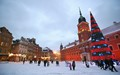 Downtown Warsaw in winter snow.