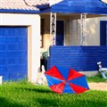 House with Matching Umbrella
