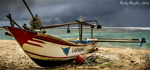 Boat with Stormy Skies