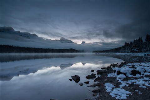Sleepy Morning at Maligne Lake