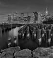 Brooklyn Bridge Park Pylons B&W