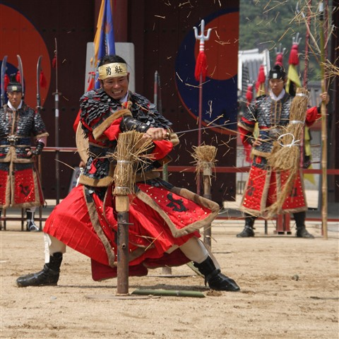 Quick strike. Korean martial artists performance. Hwaseong fortress