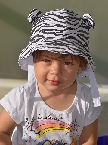 Ava in White Tiger Hat