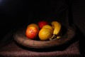 Fruits in wooden plate