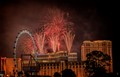 Taken from a few block off the Strip, the fireworks were launched from the top of the Venetian Hotel.