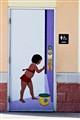Bathroom Door Mural