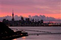 Sunset behind Auckland Skyline, New Zealand