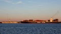 Container Ship Passes USS Yorktown