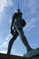 Verity is a stainless steel and bronze statue created by Damien Hirst. The 20.25-metre tall sculpture stands on the pier at the entrance to the harbour in Ilfracombe, Devon, looking out over the Bristol Channel towards South Wales