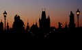 Skyline of Prague at dawn