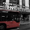 Red bus in grey