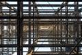 view upward into steel frame of skyscraper