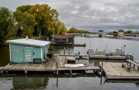 "A bygone era -- fishing shacks (including the ""Rat Shack"")"