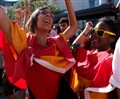 Happy days are here again! Street celebrations in Toronto of Spain's victory in the World Cup.