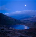 Moon rising over Llyn Teyrn