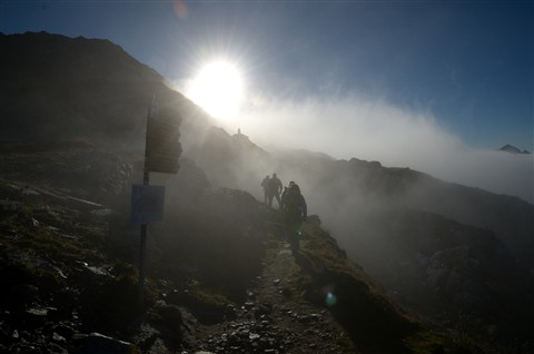 foggy morning hike