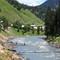Beautiful view of Kashmir, Pakistan women are crossing river
