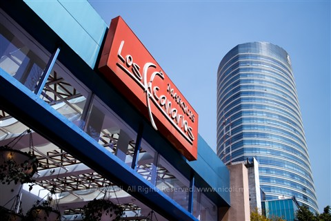 Skyscraper and restaurant