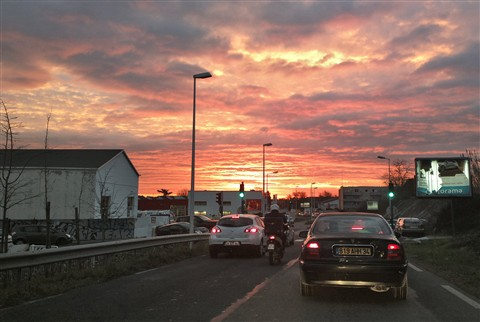 2013-01-21-Red Sky in Morning (commute)