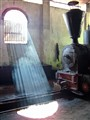 Light streams through window in steam loco shed in Java
