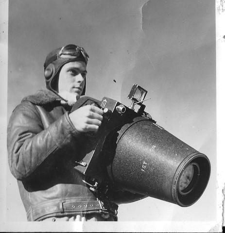 John H. Aitken, ca. 1942, with Keystone F8 aerial reconnaissance camera
