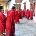 Monks at a Monestery in Bhutan