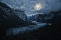 Sea of Clouds in Yosemite Valley Floor by Moonlight