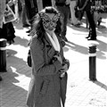 Black and white carnival butterfly lady