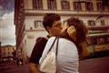 A Passionate Kiss on the Street of Rome