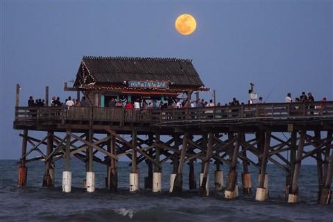 Moon over Pier at Cocoa Beach