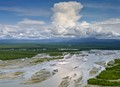 swollen susitna river in central alaska, after a rain