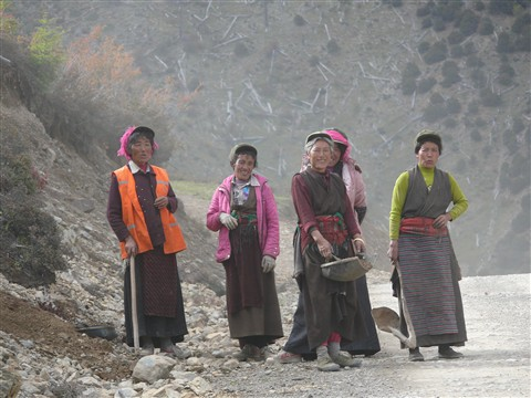 Women road workers. Road to Shangri-la. Sichuan Province. China
