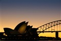 Sunset behind the Opera House, Sydney, Australia
