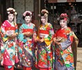 Girls try the costume of Maiko in Kyoto