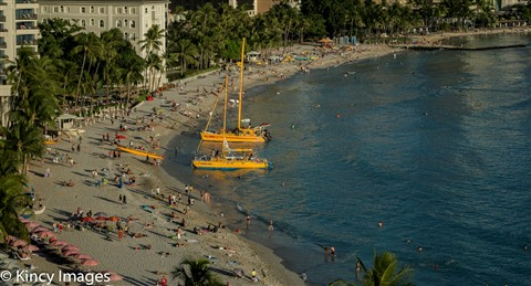 Waikiki Beach Catamarans by the Moana Surfrider Hotel