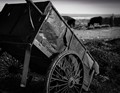 A dilapidated cart rusts away on a ranch in Inner Mongolia, China