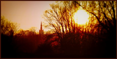 Islip church at sunset