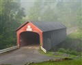 Covered Bridge on a Misty Morning