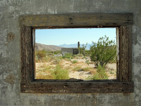 Abandoned RR building in Nevada, inside looking out