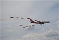 Virgin 747 with Red Arrows 2009